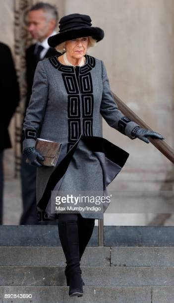 Camilla Duchess of Cornwall attends the Grenfell Tower national memorial service at St Paul's Cathedral on December 14 2017 in London England The...