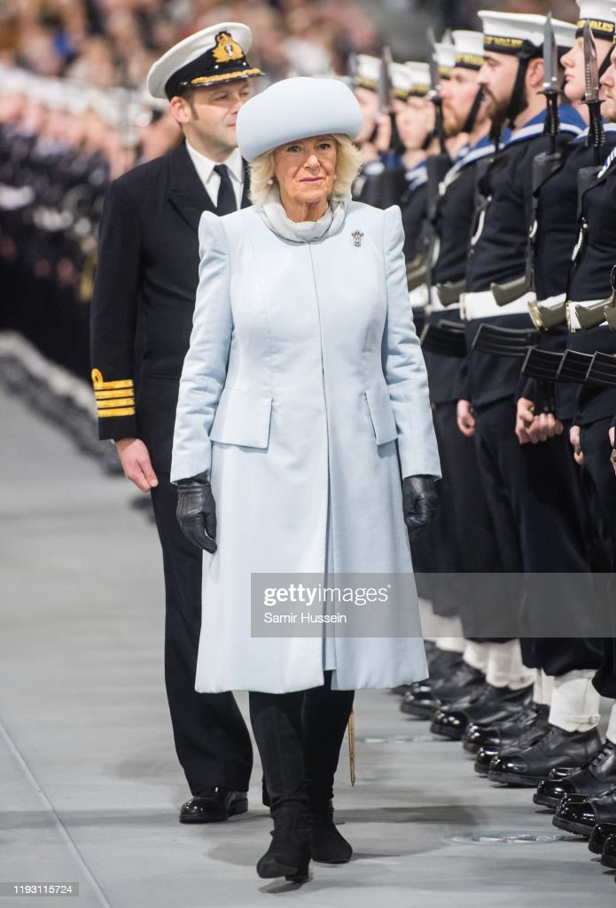 The Duchess Of Cornwall And The Prince Of Wales Attend The Commissioning Ceremony Of HMS Prince Of Wales : News Photo