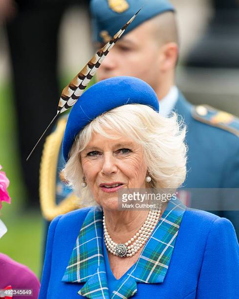 Camilla Duchess of Cornwall attends the official welcome ceremony at Grand Parade at The Cenotaph on May 19 2014 in Halifax Canada