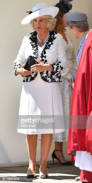Camilla Duchess of Cornwall attends the Order Of The Garter Service at Windsor Castle on June 18 2018 in Windsor England The Order of the Garter is...