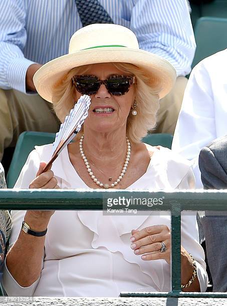 Camilla Duchess of Cornwall attends the Robin Hasse v Andy Murray match on day four of the Wimbledon Tennis Championships at Wimbledon on July 2 2015...
