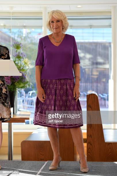 Camilla Duchess of Cornwall attends The Royal Society of Literature '40 Under 40' fellow induction at The British Library on June 27 2018 in London...