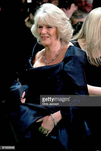 Camilla Duchess of Cornwall attends the Royal World Premiere of Alice in Wonderland at the Odeon Leicester Square on February 25 2010 in London...