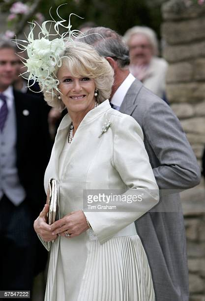 Camilla Duchess of Cornwall attends the wedding of her daughter Laura Parker Bowles to Harry Lopes at St Cyriac's Church Lacock on May 6 2006 in...