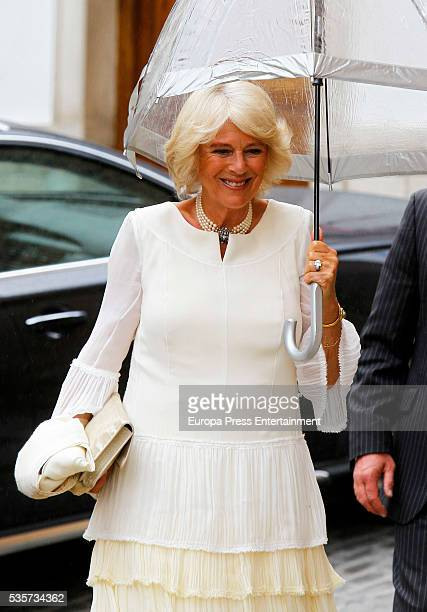 Camilla Duchess of Cornwall attends the wedding of Lady Charlotte and Alejandro Santo Domingo's wedding on May 28 2016 in Granada Spain
