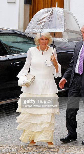Camilla, Duchess of Cornwall attends the wedding of Lady Charlotte and Alejandro Santo Domingo's wedding on May 28, 2016 in Granada, Spain.