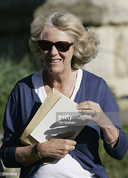 Camilla Duchess of Cornwall attends the wedding rehearsal for the marriage of her daughter Laura ParkerBowles to Harry Lopes at St Cyriac's Church...