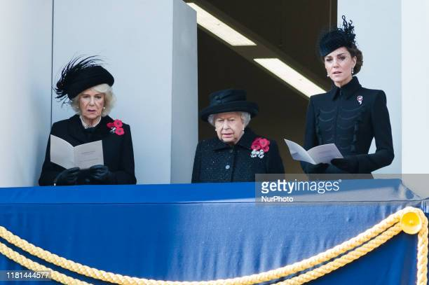 Camilla, Duchess of Cornwall, Britain's Queen Elizabeth II and Catherine, Duchess of Cambridge, attend the National Service of Remembrance at the...