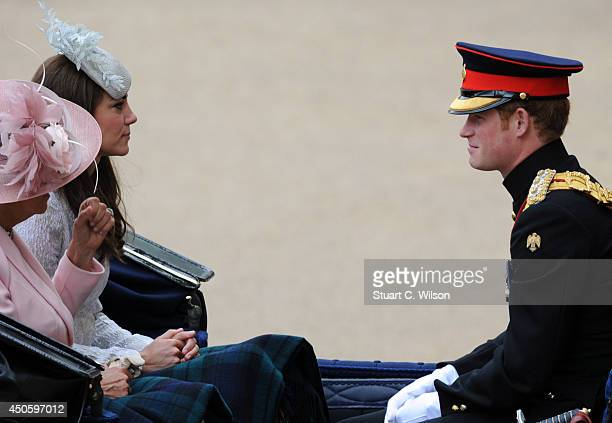 Camilla Duchess Of Cornwall Catherine Duchess of Cambridge and Prince Harry arrive for Trooping the Colour at The Royal Horseguards on June 14 2014...