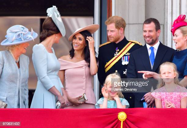 Camilla Duchess Of Cornwall Catherine Duchess of Cambridge Meghan Duchess of Sussex Prince Harry Duke of Sussex Peter Phillips Autumn Phillips Isla...