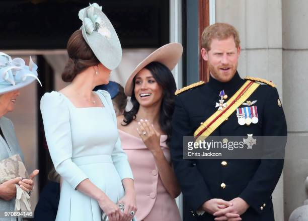Camilla Duchess Of Cornwall Catherine Duchess of Cambridge Meghan Duchess of Sussex Prince Harry Duke of Sussex on the balcony of Buckingham Palace...