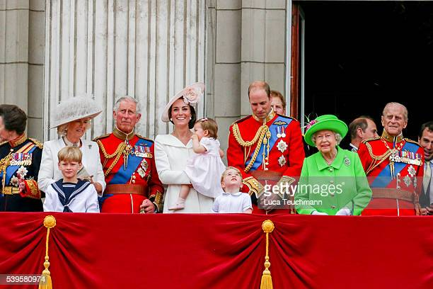 Camilla, Duchess of Cornwall, Charles, Prince of Wales, Catherine, Duchess of Cambridge, Princess Charlotte, Prince George and Prince William, Duke...