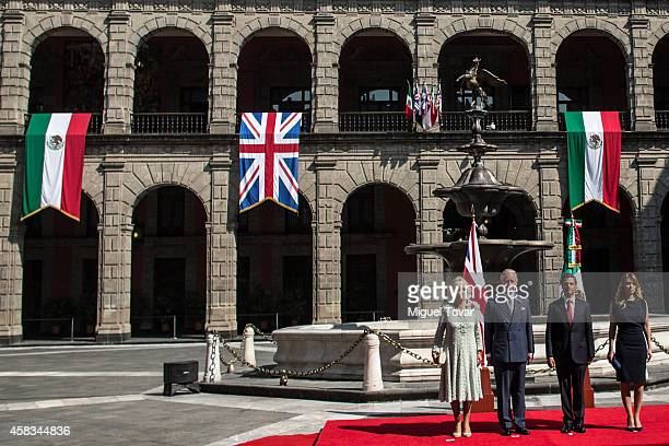 Camilla Duchess of Cornwall Charles Prince of Wales president of Meixco Enrique Peña Nieto and first lady Angelica Rivero attend a welcome ceremony...