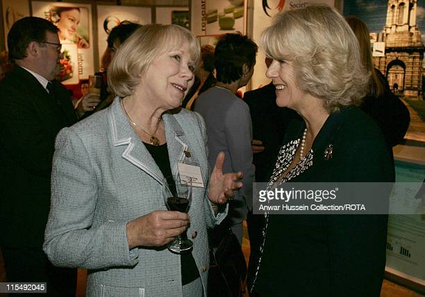 Camilla Duchess of Cornwall chats to actress Wendy Craig after receiving the 2007 Kohn Foundation Award in recognition of her contribution to raising...