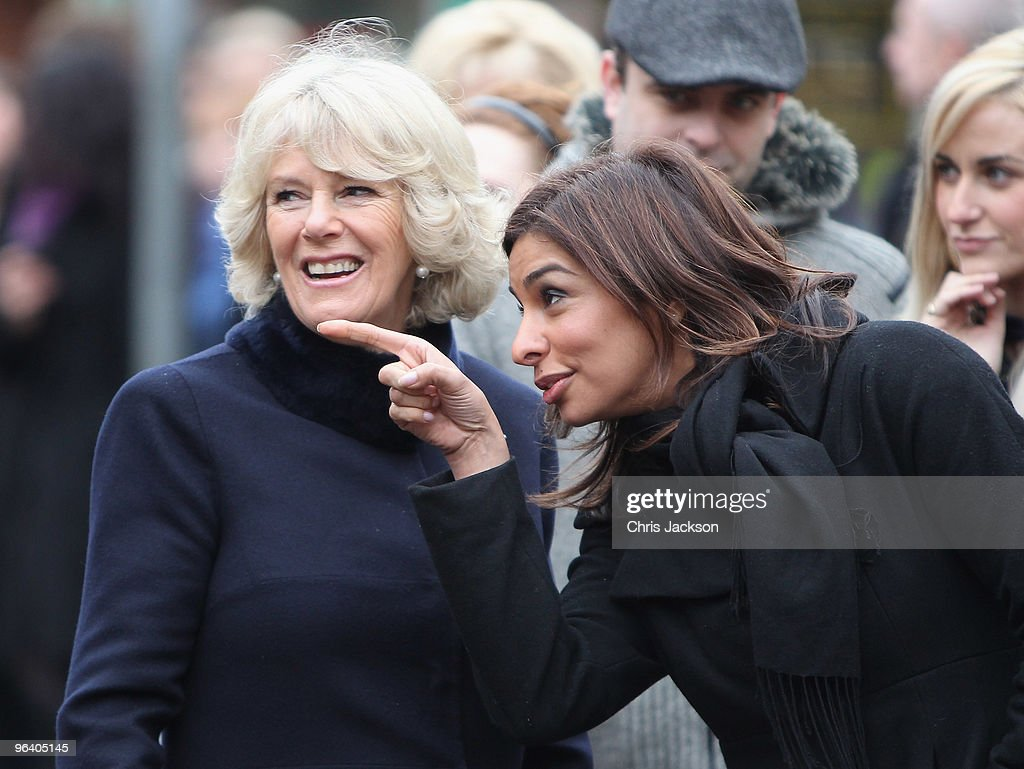 Camilla, Duchess of Cornwall chats to cast member Shobna Gulati during a tour of the Coronation Street set on February 4, 2010 in Manchester, England.