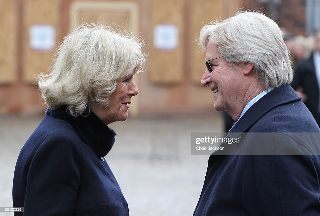 Camilla, Duchess of Cornwall chats to cast member William Roach during a tour of the Coronation Street set on February 4, 2010 in Manchester, England.