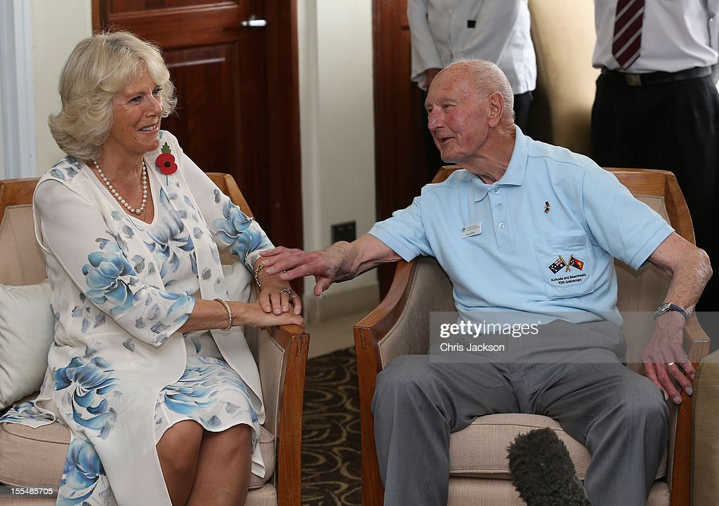Camilla, Duchess of Cornwall chats to Kokoda Campaign veteran Len Griffiths during a reception for Kokoda Veterans on the 70th Anniversary of the Australian battle against to Japanese at the Airways Hotel on November 4, 2012 in Port Moresby, Papua New Guinea. The Royal couple are in Papua New Guinea on the first leg of a Diamond Jubilee Tour taking in Papua New Guinea, Australia and New Zealand.