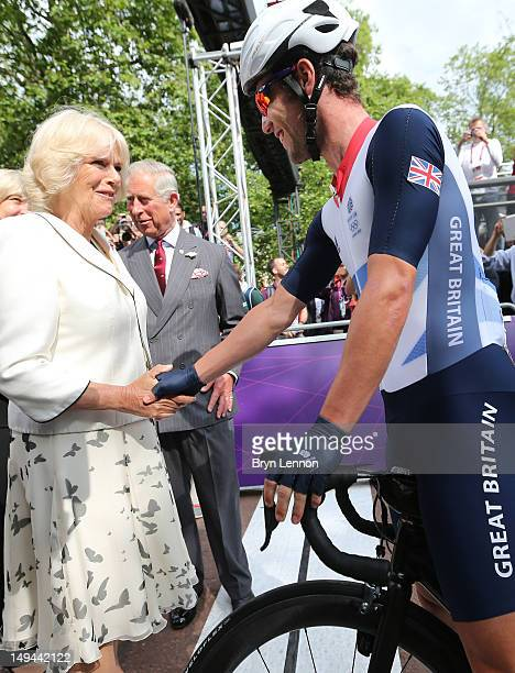 Camilla, Duchess of Cornwall chats to Mark Cavendish of Great Britain ahead of the Men's Road Race Road Cycling on day 1 of the London 2012 Olympic...