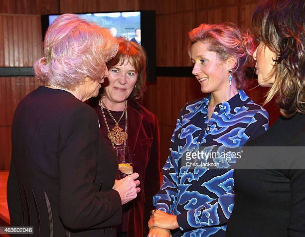 Camilla Duchess of Cornwall chats to Marthda LaneFox as she attends a reception in support of The Women Of The World Festival 2015 at Southbank...