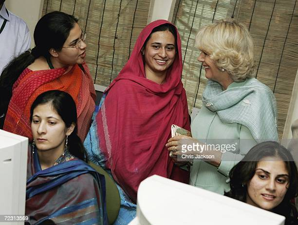 Camilla Duchess of Cornwall chats to pupils in the computer class at Fatima Jinnah womens University on the third day of the Royal Tour of Pakistan...
