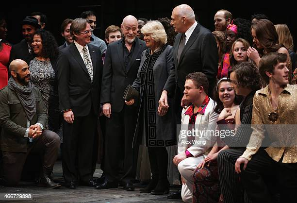 Camilla Duchess of Cornwall chats with opera and musical theatre performer Anthony Warlow actor Richard Thomas and Artistic Director of the...