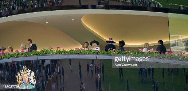 Camilla, Duchess of Cornwall chats with trainer Ralph Beckett at Ascot Racecourse on July 24, 2021 in Ascot, England.