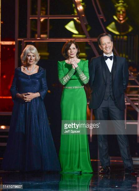 Camilla Duchess of Cornwall Darcey Bussell and Richard E Grant present the Special Award on stage during The Olivier Awards 2019 with Mastercard at...