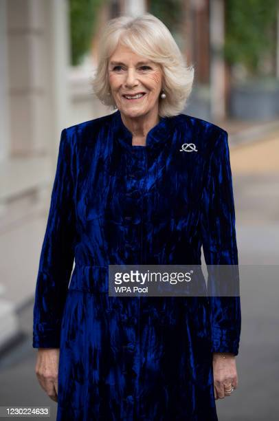 Camilla, Duchess of Cornwall decorates the Clarence House Christmas Tree virtually with children from Helen & Douglas House Hospice, on December 16,...