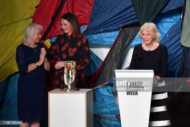 Camilla, Duchess Of Cornwall delivers speech as she presents the Queen Elizabeth II award for British Design alongside Caroline Rush, Chief Executive...