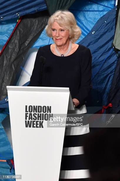 Camilla, Duchess Of Cornwall delivers speech as she presents the Queen Elizabeth II award for British Design at the Bethany Williams show during...
