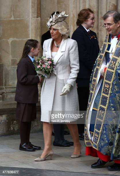 Camilla Duchess of Cornwall departs after attending the Commonwealth day observance service at Westminster Abbey on March 10 2014 in London England