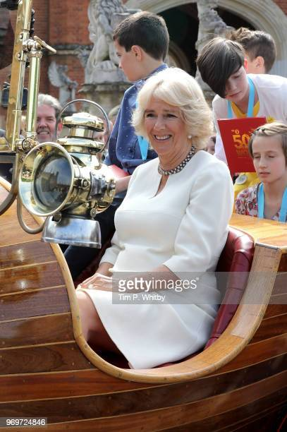 Camilla Duchess of Cornwall attends the live broadcast of the final of BBC Radio 2's 500 Words creative writing competition at Hampton Court Palace...