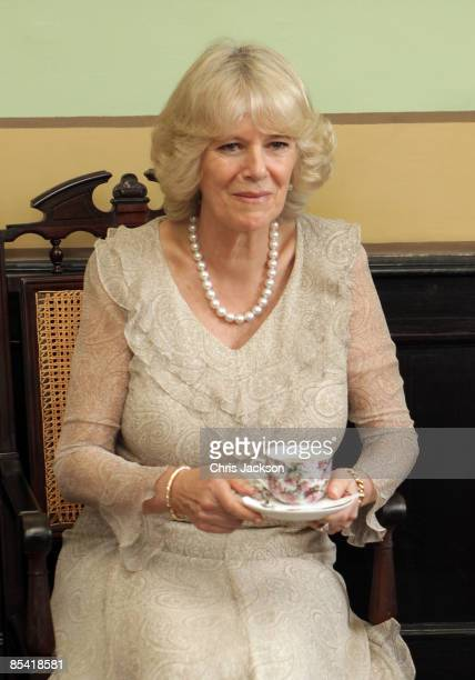 Camilla Duchess of Cornwall drinks tea as she talks to an Osteoporosis focus group at the Rio Negro Palace on March 13 2009 in Manaus Brazil The...