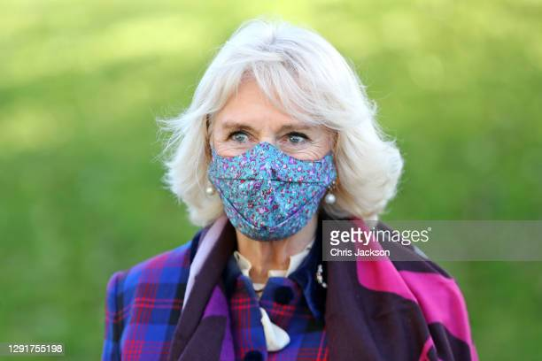 Camilla, Duchess of Cornwall during a visit to Gloucestershire Vaccination Centre at Gloucestershire Royal Hospital on December 17, 2020 in...