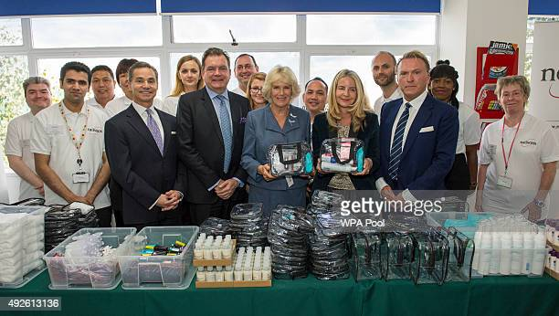 Camilla Duchess of Cornwall during a visit to Nelsons the UK's largest manufacturer of natural healthcare products on October 14 2015 in London...