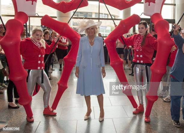 Camilla, Duchess of Cornwall during a visit to Wellington Farmer's Market to meet local farmers, vendors, artisans and community members and learnt...
