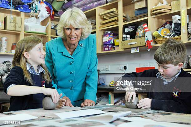 Camilla Duchess of Cornwall during her visit to Claddagh Primary School to meet children in an arts and craft lesson on May 19 2015 in Galway Ireland...