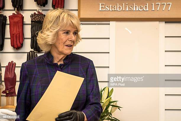 Camilla Duchess of Cornwall during her visit to Dents Fine Accessories factory on February 24 2015 in Warminster England