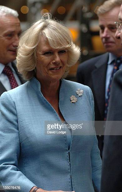 Camilla Duchess of Cornwall during Prince Charles and the Duchess of Cornwall Visit Leadenhall Market and Lloyds of London at Leadenhall Market and...
