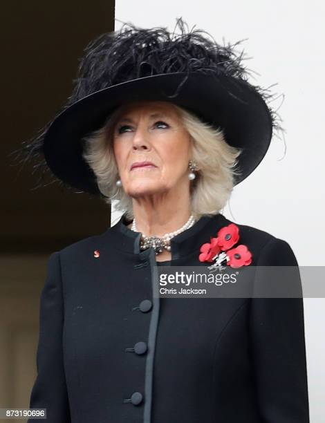 Camilla Duchess of Cornwall during the annual Remembrance Sunday memorial on November 12 2017 in London England The Prince of Wales senior...