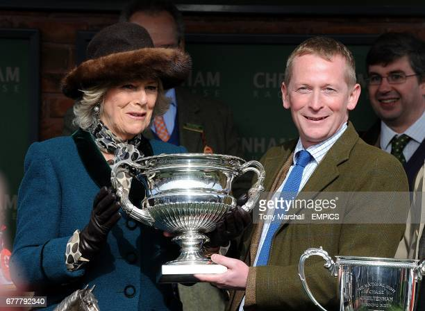 Camilla, Duchess of Cornwall during the trophy presentation after Teaforthree wins the Diamond Jubilee National Hunt Chase during the Cheltenham...