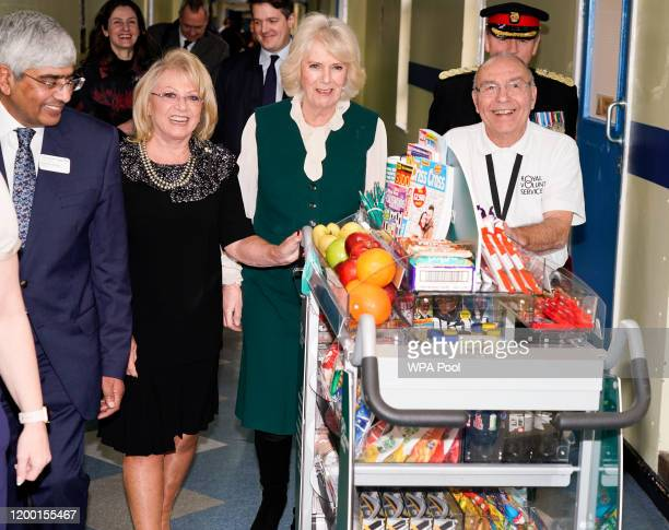 Camilla Duchess of Cornwall Elaine Paige and John Thompson launch the Big Trolley Push charity campaign at Leicester's General hospital on February...