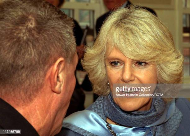 HRH Camilla Duchess of Cornwall enjoys a cup of tea and chats to Frank Cook during a visit to the Deptford Churches Centre in South East London where...