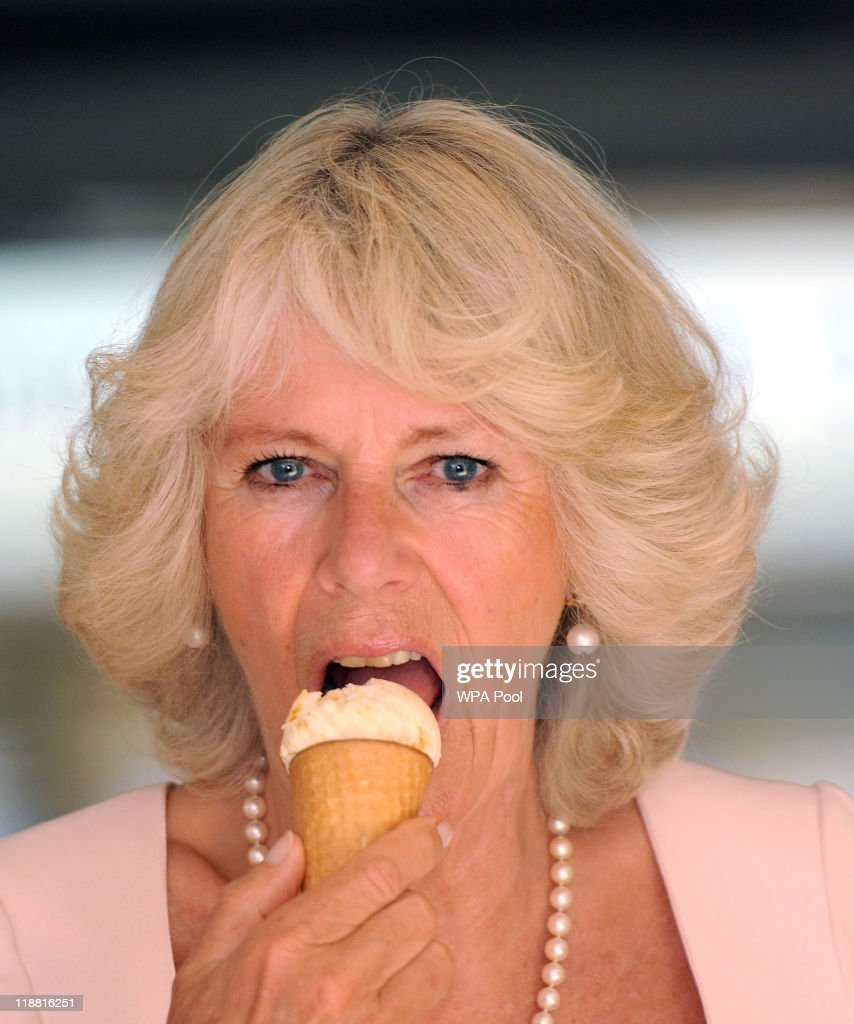 Camilla, Duchess of Cornwall enjoys an icecream during her visit Salcombe with Prince Charles, Prince of Wales on July 11, 2011 in Devon, England.