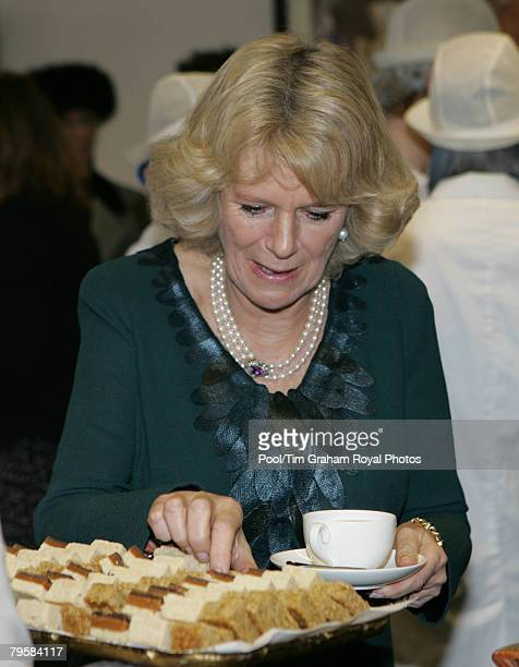 Camilla Duchess of Cornwall enjoys refreshments during a visit to the Marshfields Bakery in Tolldown on February 5 2008 in Wiltshire England