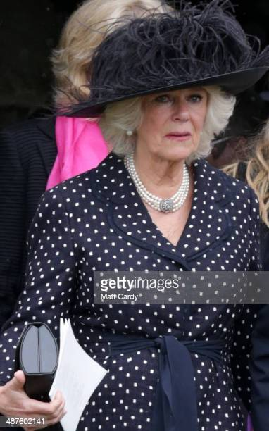 Camilla Duchess of Cornwall follows the coffin of Mark Shand as it leaves Holy Trinity Church in Stourpaine on May 1 2014 near Blandford Forum in...