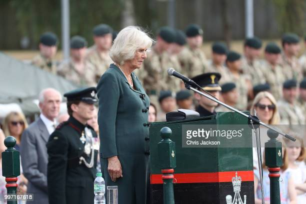 Camilla Duchess of Cornwall gives a speech as she attends a Medal Parade at the New Normandy Barracks on July 12 2018 in Aldershot England