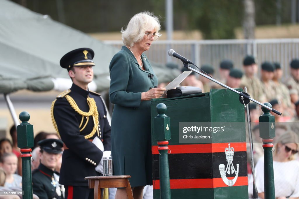 Camilla, Duchess of Cornwall gives a speech during a visit to New Normandy Barracks on July 12, 2018 in Aldershot, England.