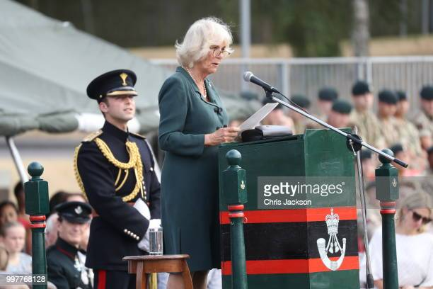 Camilla Duchess of Cornwall gives a speech during a visit to New Normandy Barracks on July 12 2018 in Aldershot England