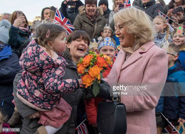 Camilla Duchess of Cornwall greets crowds during a visit to the Piece Hall in Blackledge on February 16 2018 in Halifax United Kingdom Piece Hall has...